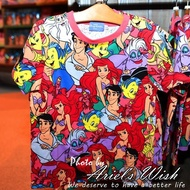Ariel's Wish-東京Tokyo迪士尼海洋小美人魚愛麗兒青年版滿版T shirt-150cm/140cm現貨各一