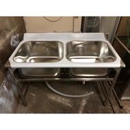 《祥順餐飲設備》全新雙口水槽/洗碗深水槽/雙水槽/120水槽/四尺雙水槽/雙口洗碗槽/120*60*80/304