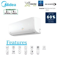 Midea 1.0HP 1.5HP 2.0HP R32 Inverter Model:MSXS Xtreme Save Inverter Wall Mounted Aircond Air Conditioner (Klang Valley)