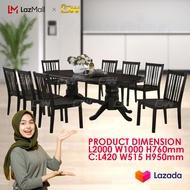 [READY STOCK] 1+8 Seater 6 Feet Solid Wood Dining Set Kayu High Quality Turkey Fabric Chair / Dining Table / Dining Chair / Meja Makan / Kerusi Meja Makan / Buffet Makan Meja / Meja Party Makan Weekend