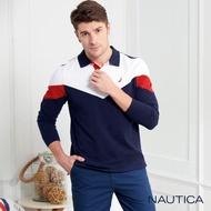 【NAUTICA】撞色V型修身長袖POLO衫(深藍)