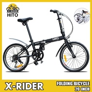 🔥HITO🔥 Foldable Bicycle 20 Inch 6-speed Ultra-light Men's And Women's Folding Bike Thickened High Carbon Steel Frame Bicycle