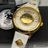 VERSUS VERSACE手錶,編號VV00313,40mm金色圓形精鋼錶殼,白色立體懸浮雕刻錶面,白真皮皮革錶帶款