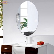 Wall Sticker 3D Mirror Effect Removable Rectangle Oval Background Decoration for Home