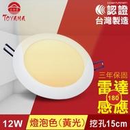 【TOYAMA特亞馬】12W超薄LED雷達微波感應崁燈 挖孔尺寸15cm燈泡色(黃光)