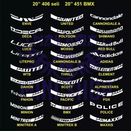 Cutting Sticker Rims / Bicycle Tires Rims 20 Inch 2cm