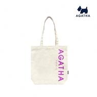 【AGATHA】亮色大LOGO肩背帆布包(環保實用)