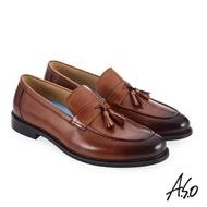 【A.S.O 阿瘦集團】菁英通勤  流蘇裝飾時尚混搭真皮鞋(茶色)