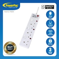 PowerPac Extension Socket Extension Cord 3 way 3 metre with 2-Pin Direct. (PP3883N)
