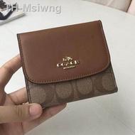 Coach F87589  หนังแท้กระเป๋าสตางค์ กระเป๋าเงินบัตร กระเป๋าสตางค์ใบสั้น พับเก็บได้ ของแท้  coach กระเป๋าสตางค์