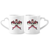 Kite Traditional Chinese Culture Pattern Couple Mugs Ceramic Lover Cups Heart Handle 12oz Gift - intl
