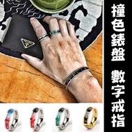歐洲 ROLEX 水鬼 撞色 錶圈 錶盤 鈦鋼戒指 翻玩開口戒 情侶 玩色 戒指 尾戒 情侶戒指