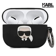 【KARL LAGERFELD 卡爾】IKONIK Airpods pro耳機殼-黑(原廠公司貨)