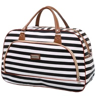 Little Bag กระเป๋าเดินทางใบเล็ก กระเป๋าเดินทางสะพายไหล่ กระเป๋าเดินทาง travel bag ลายทาง รุ่น LT-005 (สีขาว/ดำ)