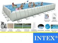 สระน้ำสำเร็จรูป Intex Ultra Frame Pool 32 ฟุต เครื่องกรองระบบทราย (9.75 x 4.88 x 1.32 ม.) 28372