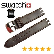 Genuine Leather Watchband Soft Leather Strap For Swatch. 21mm