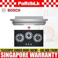 Bosch DHI923GSG Telescopic Cooker Hood (90cm) + PBD7331SG (PUB) Gas Hob (70cm)