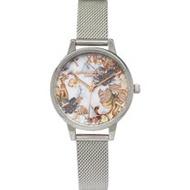 OLIVIA BURTON 手錶 OB16CS16 復古色調花朵 銀色金屬網狀錶帶 女錶 30mm