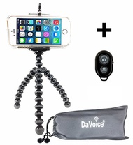 DaVoice DaVoice Flexible Tripod - Cell Phone Tripod Adapter - Bluetooth Remote Control - Travel Bag