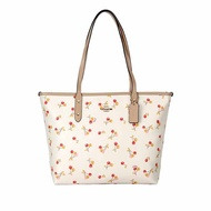 COACH 女士櫻桃印花拉鏈購物袋單肩包手提包托特包 F31971