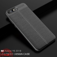 Huawei Y6 2018 Case Leather Grain Slim Cover Soft Casing for Y6 2018