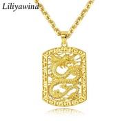 Liliya 3D 18Kทองจี้มังกรกลวงบุคลิกภาพBossผู้ชายสร้อยคอ