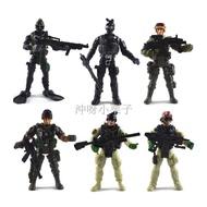 ℗夯貨~3.75寸特種部隊兵人套裝模型 關節可動人偶軍事打仗士兵軍人玩具exq 公仔