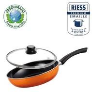 【Riess】奧地利國寶單柄陶瓷琺瑯單柄陶瓷琺瑯平底鍋28CM(橘)