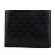 【購名牌】EMPORIO ARMANI 經典浮雕logo印紋牛皮短夾/皮夾/錢包(黑色)