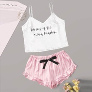Sleepwear For Women Pajamas For Women Womens Pajamas Set Women Stain Letter Print O-Neck Camisole Pajamas Sleepwear Shorts Lingerie Set