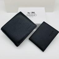 實拍 COACH F74991 經典款 男生皮夾 短夾 荔枝紋真皮錢包 多卡位 卡片夾 蔻馳錢夾 附購證