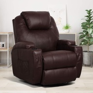 Esright Massage Recliner Chair Heated PU Leather Ergonomic Lounge 360 Degree Swivelï¼ Brown