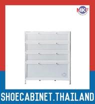 4 ชั้น สีขาว ตู้รองเท้าอลูมิเนียม กันน้ำกันปลวก ตู้รองเท้า ชั้นวางรองเท้า กล่องใส่รองเท้า ตู้อเนกประสงค์ ALUMINIUM SHOE CABINET