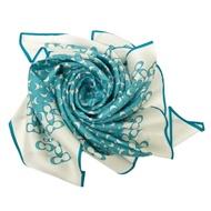 COACH 桑蠶絲絲巾方巾(米白/藍)
