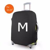 ถุงผ้าคลุมกระเป๋าเดินทาง แบบผ้ายืด (Lycra spandex travel suitcase spandex luggage cover) ไซร์ M ขนาดกระเป๋า 22-24 นิ้ว - สีดำ