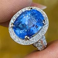 產地直營~GIA錫蘭天然無燒斯里蘭卡無處理藍寶石8.46克拉18K金鑽戒~附GIA寶石鑑定書~特價