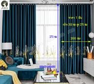 ผ้าม่าน ผ้าม่านประตู ลายปักดอกกล้วยไม้ กว้าง 200 x สูง 270 ซม ผ้าม่านสำเร็จรูป ผ้าม่านห่วงตาไก่ ผ้ากันแสง UV ผ้าม่านเนื้อหนาไม่อมฝุ่น