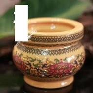 佛堂用品盤香爐檀香爐淨香爐唐彩珍珠黃蓮花熏香爐(4寸)