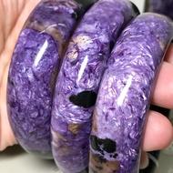天然紫龍晶手鐲 美美的拉絲 帶天然黑碧璽 手圍19#(內徑59-60mm)