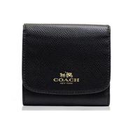 COACH 女款黑色皮質短款錢包錢夾F53768