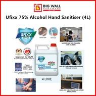 Ufixx 4L 75% Alcohol Hand Sanitiser/Sanitizer (Liquid Type) Big Wall Hardware