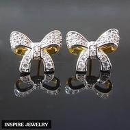 Inspire Jewelry ต่างหูรูปโบว์ งานจิวเวลลี่ สวยหรู ตัวเรือนหุ้มทองแท้ 100% 24K