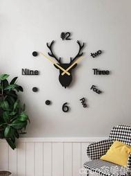 掛鐘免打孔diy鹿頭掛鐘北歐創意現代簡約客廳時鐘家用時尚裝飾藝術表