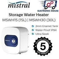 ★ Mistral MSWH30 | MSWH15 Storage Water Heater 15L/ 30L ★ (5 Years Warranty for Heating Element)