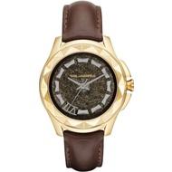 KARL LAGERFELD KARL 7系列搖滾星錐三針腕錶-金框x咖啡帶-KL1038-43mm