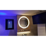 【衛浴的醫院】化妝鏡 附燈噴砂明鏡 圓型 LED 大浴鏡 MW3033-L 600*厚度 40 mm