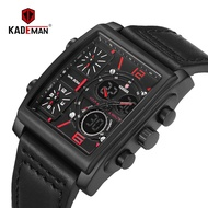 Kademan cardman dual time zone movement men's rectangular dial belt quartz watch k636