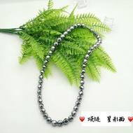 寒雁-天然太赫茲石 鈦赫茲能量石項鏈毛衣鏈切面圓珠保健美容閃亮