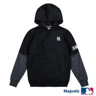 MLB-洋基隊拼接袖印字帽T-黑 (男)