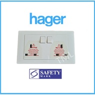 Hager MUSE 13A Single Double Socket Outlet 1x13A 2x13A